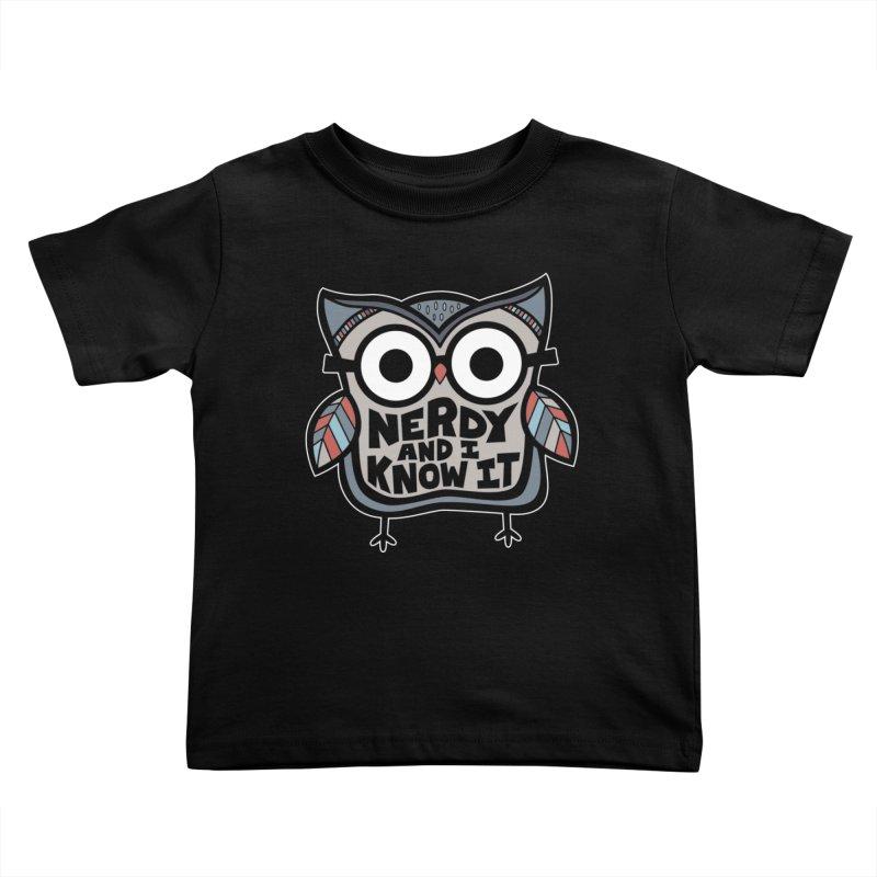 Nerdy Birdy Kids Toddler T-Shirt by Treemanjake