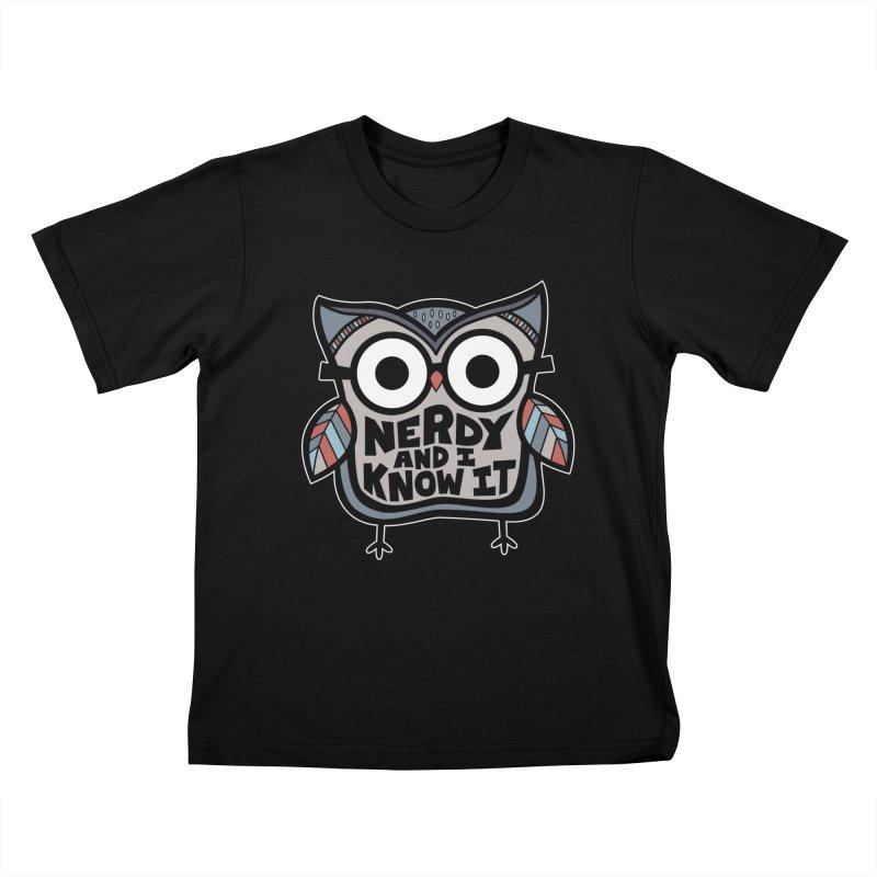 Nerdy Birdy Kids T-Shirt by Treemanjake