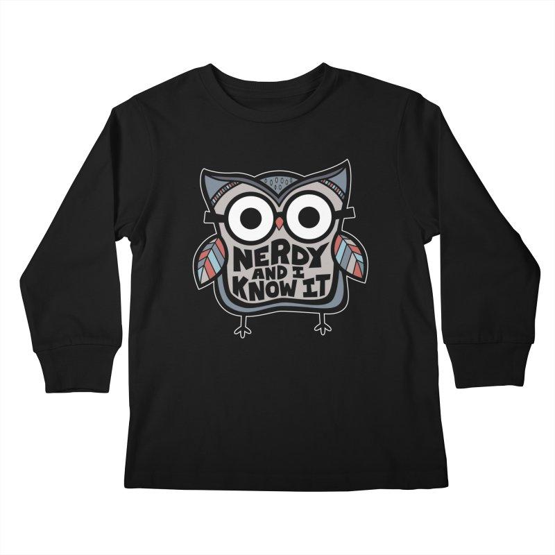 Nerdy Birdy Kids Longsleeve T-Shirt by Treemanjake