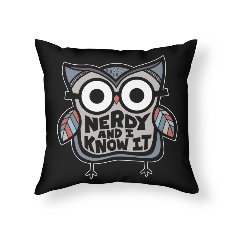Nerdy Birdy Home Throw Pillow by Treemanjake