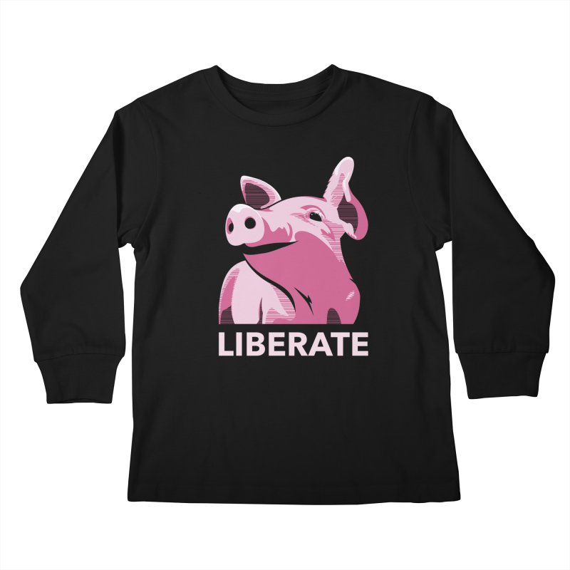 Liberate! (Pig) Kids Longsleeve T-Shirt by trekvix's Artist Shop
