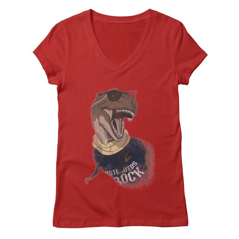 Hipstereosaurus Rex Women's V-Neck by trekvix's Artist Shop