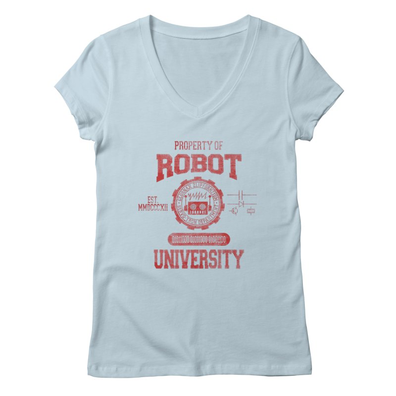 Robot University Women's V-Neck by TREVOUR