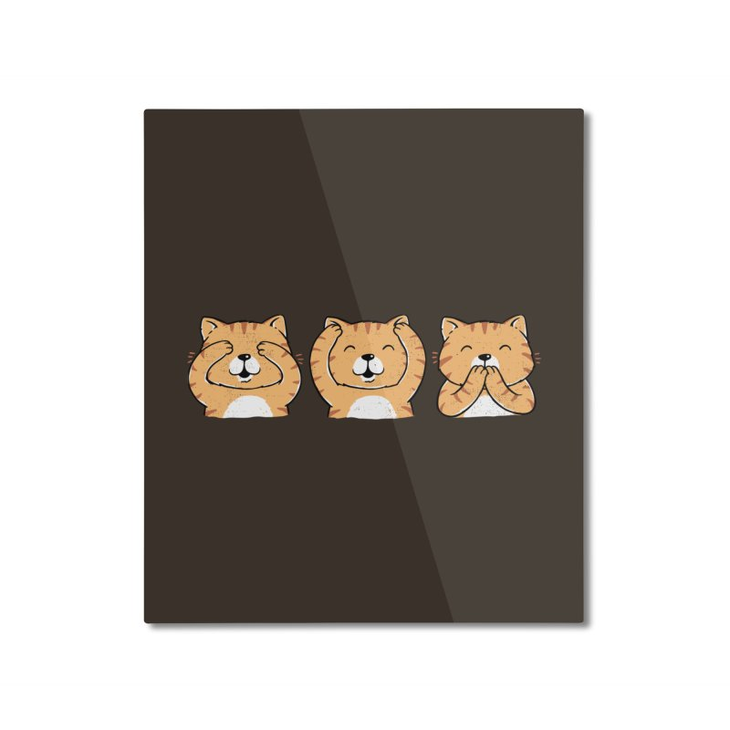 Three Wise Cats Home Mounted Aluminum Print by triagus's Artist Shop