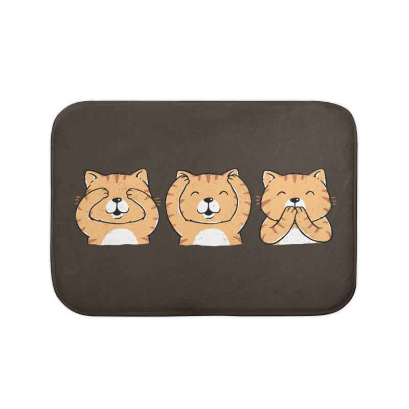 Three Wise Cats Home Bath Mat by triagus's Artist Shop