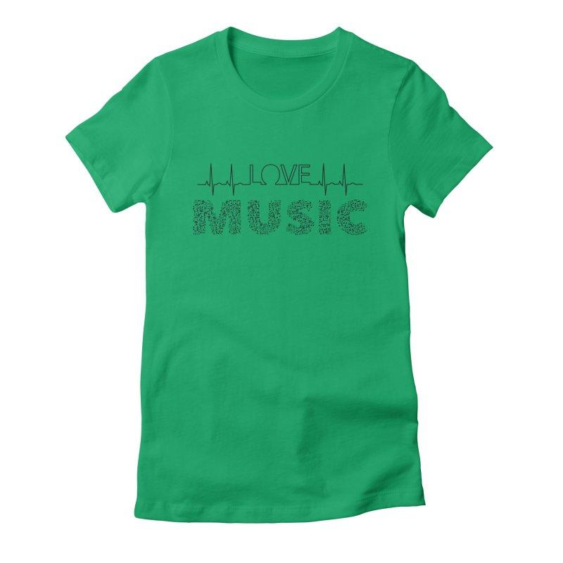 Love Music Musical notes Heartbeat Women's T-Shirt by Tribble Design - Unique graphics for unique produc