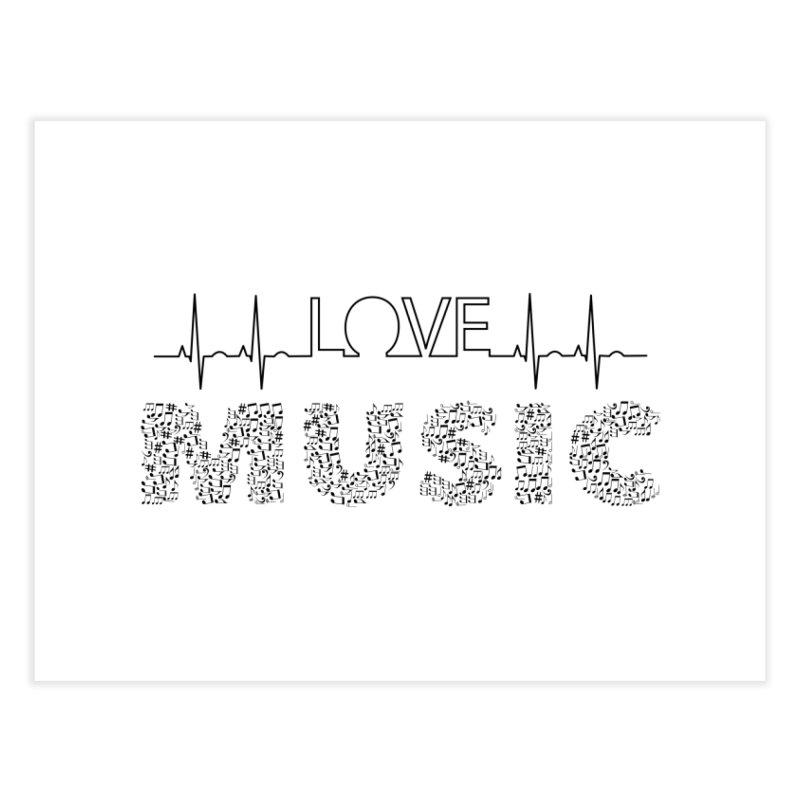 Love Music Musical notes Heartbeat Home Fine Art Print by Tribble Design - Unique graphics for unique produc