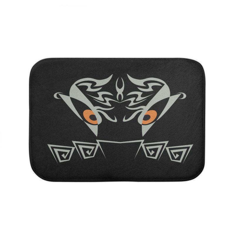 Tohunga ! The Guru - Orange Eyes - Tribal Design Home Bath Mat by TribEyes by Oly
