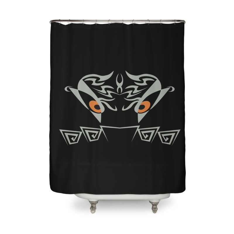 Tohunga ! The Guru - Orange Eyes - Tribal Design Home Shower Curtain by TribEyes by Oly