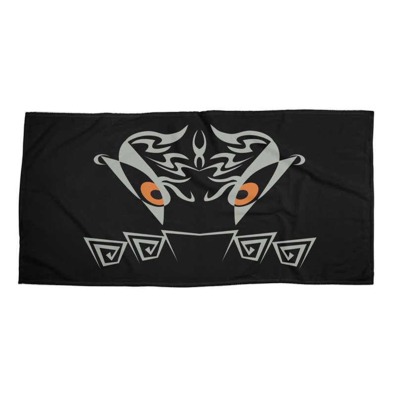 Tohunga ! The Guru - Orange Eyes - Tribal Design Accessories Beach Towel by TribEyes by Oly
