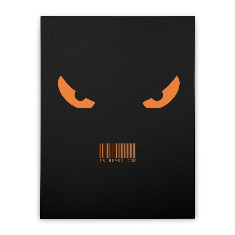 Toa - Tribal Orange Eyes - with Barcode Home Stretched Canvas by TribEyes by Oly