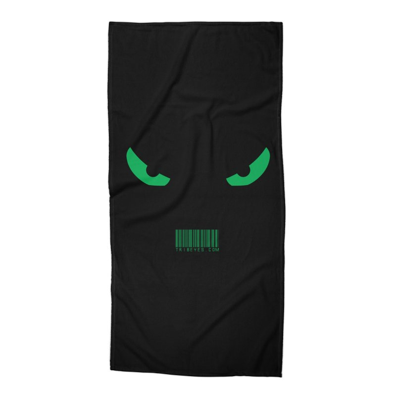Toa - Tribal Green Eyes - with Barcode Accessories Beach Towel by TribEyes by Oly