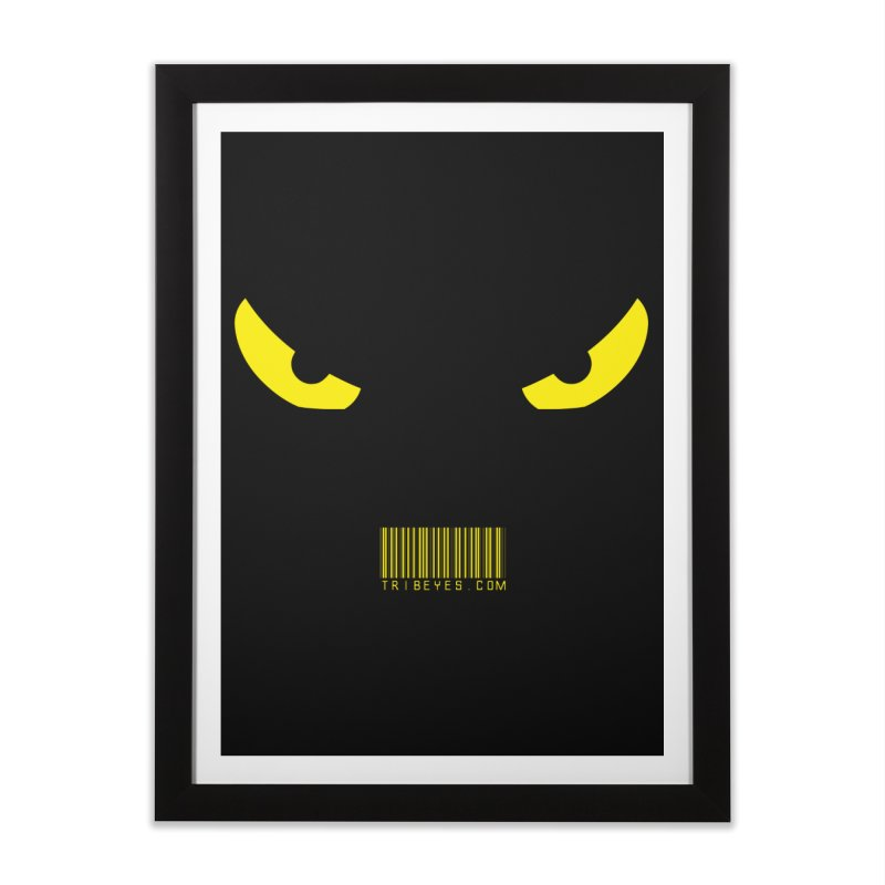 Toa - Tribal Yellow Eyes - with Barcode Home Framed Fine Art Print by TribEyes by Oly