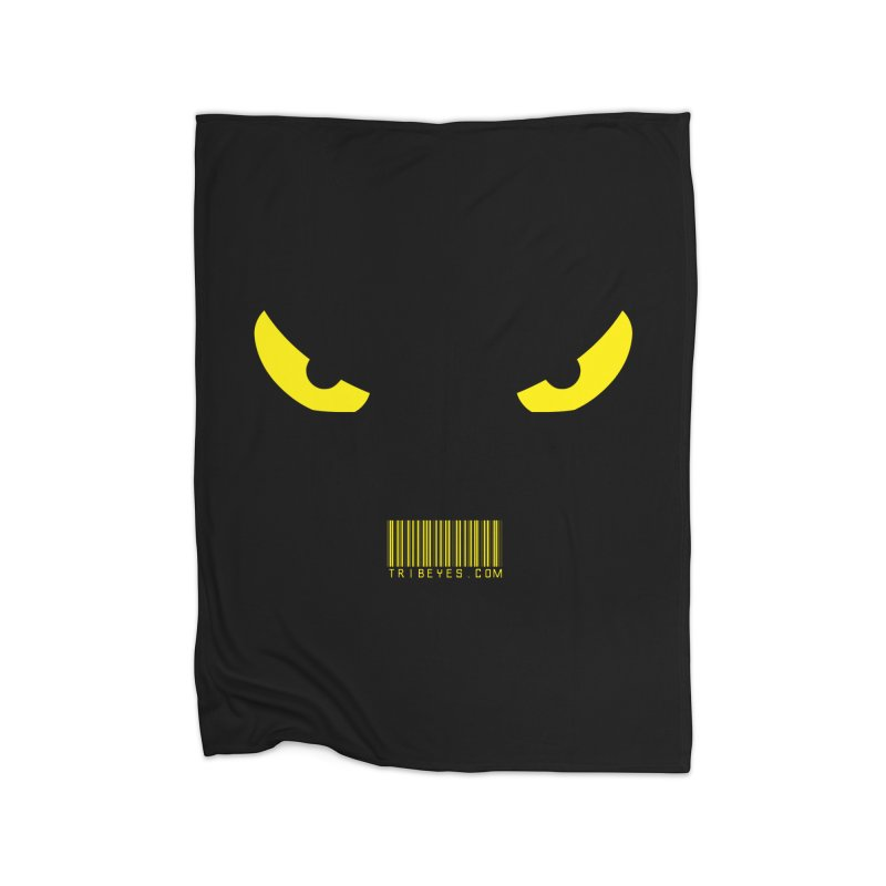 Toa - Tribal Yellow Eyes - with Barcode Home Fleece Blanket Blanket by TribEyes by Oly