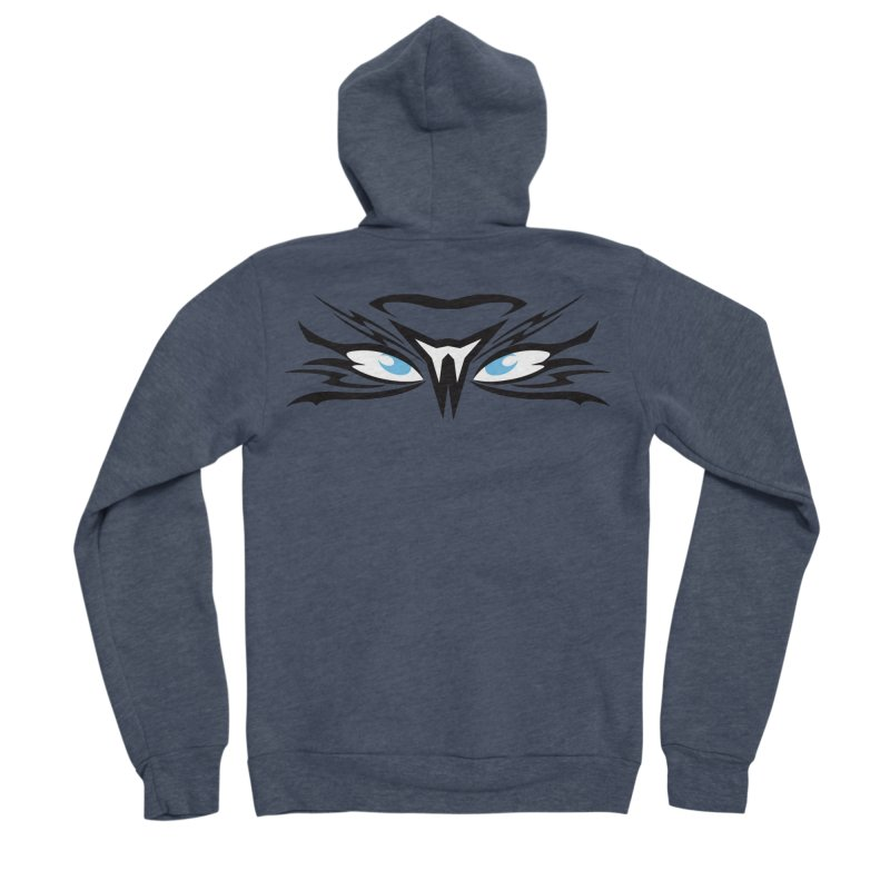 Kahu ! The Tribal Hawk with Piercing View - Blue Eyes Men's Sponge Fleece Zip-Up Hoody by TribEyes by Oly