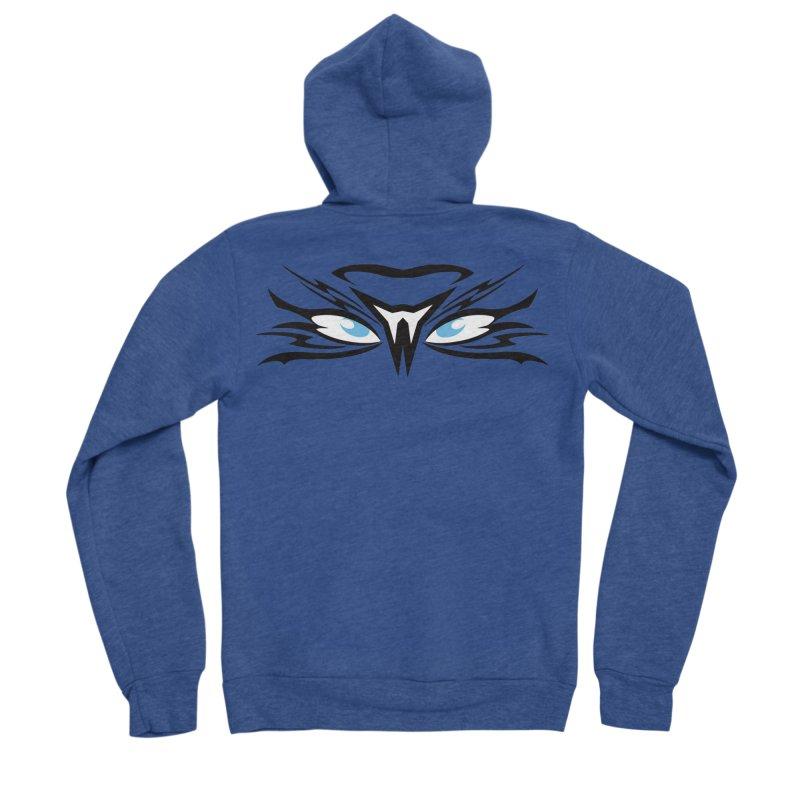 Kahu ! The Tribal Hawk with Piercing View - Blue Eyes Women's Sponge Fleece Zip-Up Hoody by TribEyes by Oly