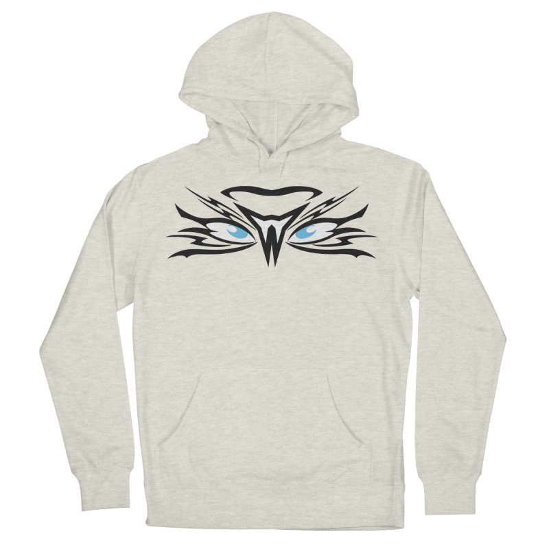 Kahu ! The Tribal Hawk with Piercing View - Blue Eyes Women's French Terry Pullover Hoody by TribEyes by Oly