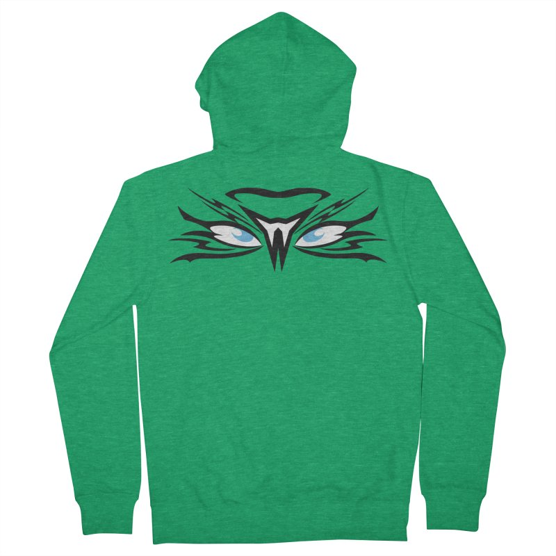 Kahu ! The Tribal Hawk with Piercing View - Blue Eyes Women's Zip-Up Hoody by TribEyes by Oly