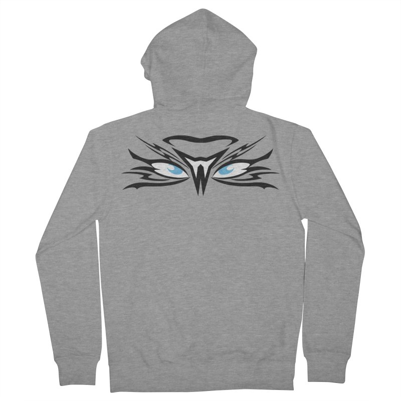 Kahu ! The Tribal Hawk with Piercing View - Blue Eyes Men's French Terry Zip-Up Hoody by TribEyes by Oly