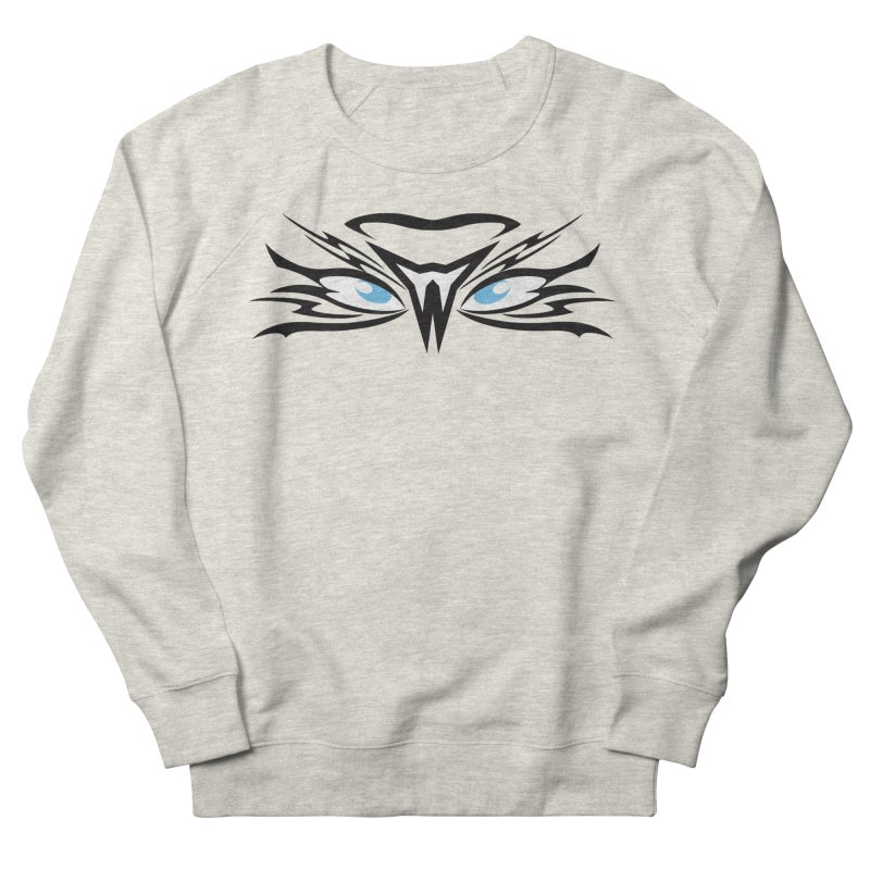 Kahu ! The Tribal Hawk with Piercing View - Blue Eyes Men's French Terry Sweatshirt by TribEyes by Oly