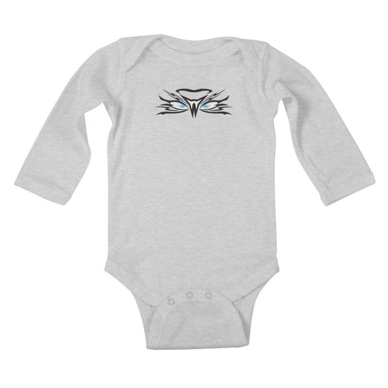 Kahu ! The Tribal Hawk with Piercing View - Blue Eyes Kids Baby Longsleeve Bodysuit by TribEyes by Oly