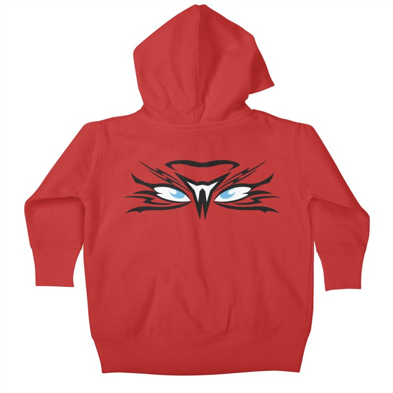 Kahu ! The Tribal Hawk with Piercing View - Blue Eyes Kids Baby Zip-Up Hoody by TribEyes by Oly