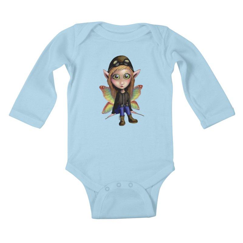 Fairy Aviator Kids Baby Longsleeve Bodysuit by Trick's Place's Artist Shop