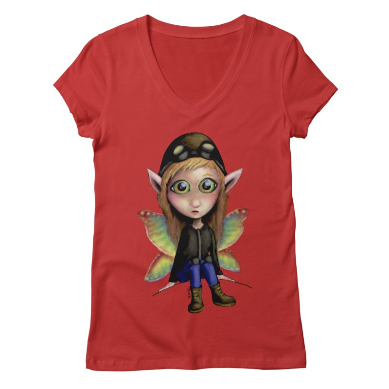 Fairy Aviator Women's V-Neck by Trick's Place's Artist Shop