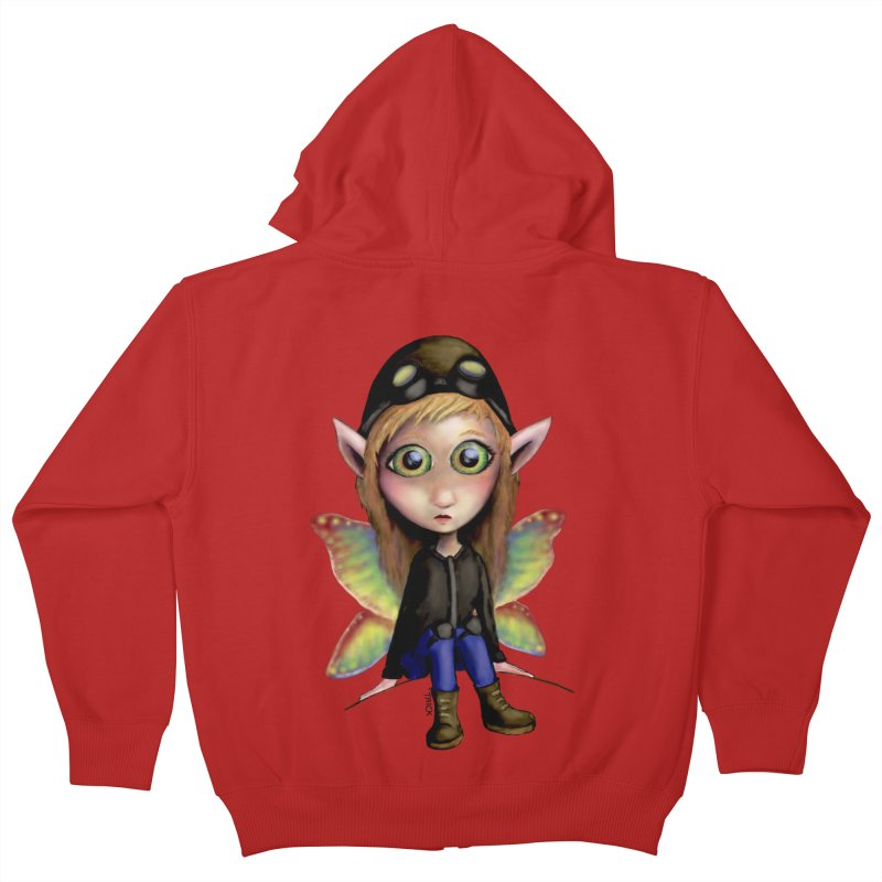Fairy Aviator Kids Zip-Up Hoody by Trick's Place's Artist Shop