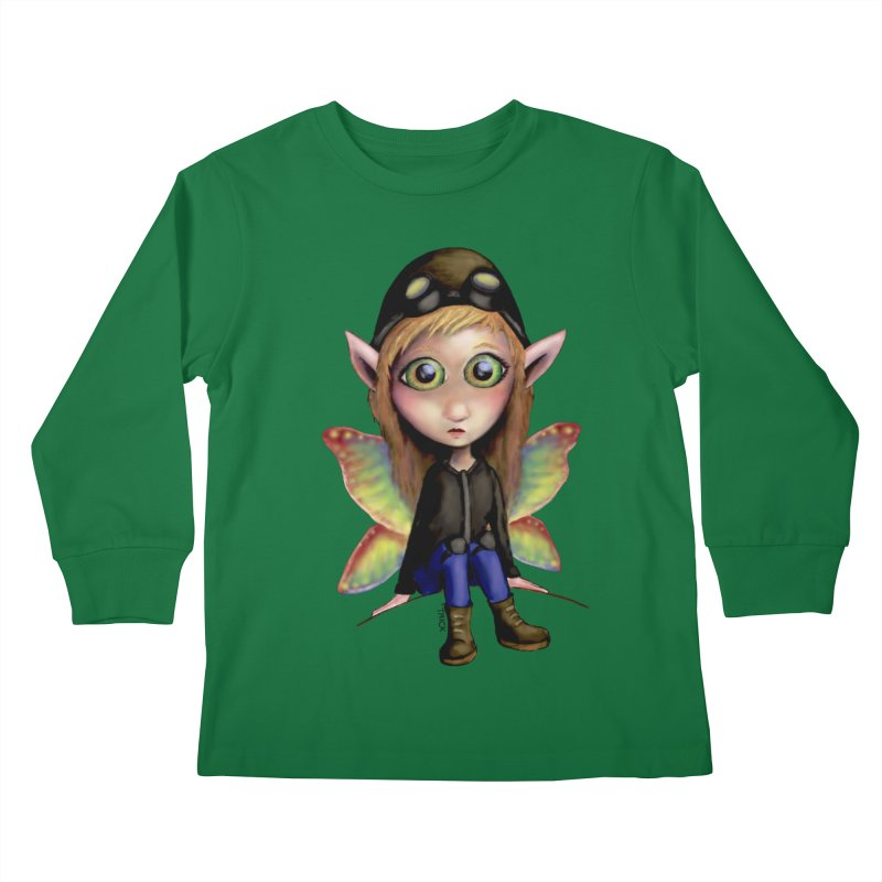 Fairy Aviator Kids Longsleeve T-Shirt by Trick's Place's Artist Shop
