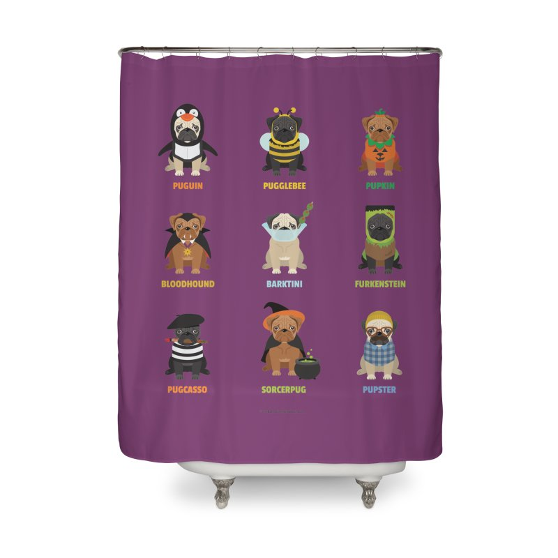 A Very Pug-o-ween Home Shower Curtain by Trillion's Shop