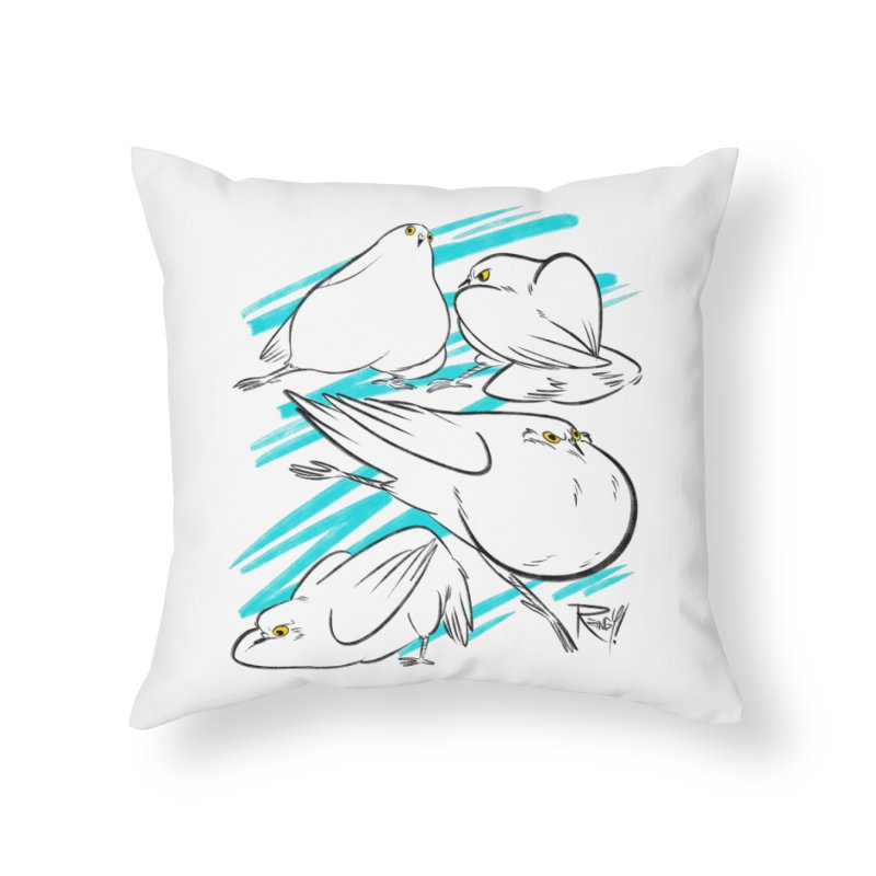 MASSIVE PIGEONS Home Throw Pillow by Tripleta Studio Shop
