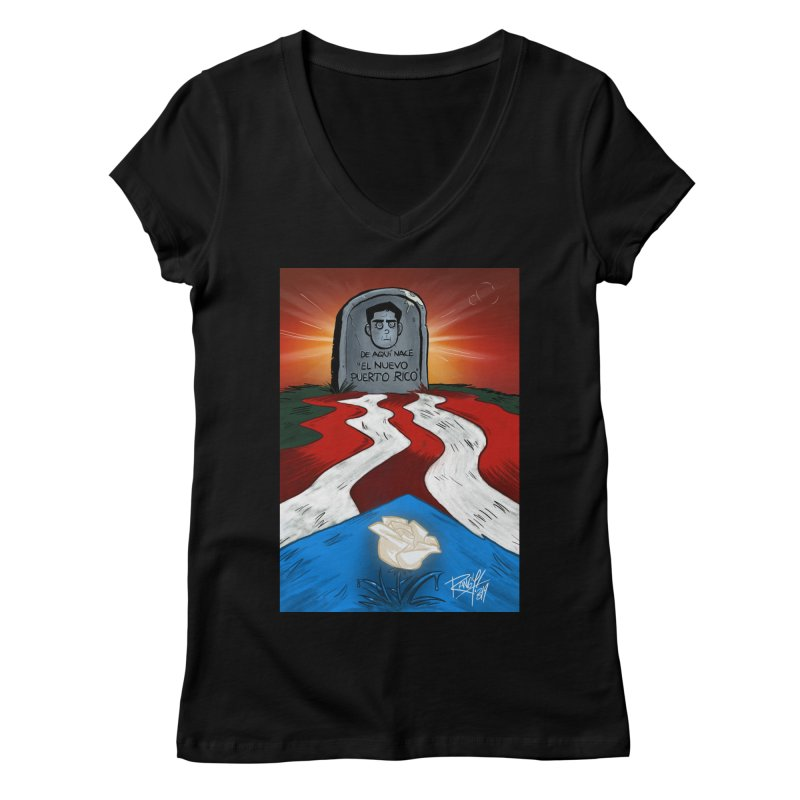 EL NUEVO PUERTO RICO Women's Regular V-Neck by Tripleta Studio Shop