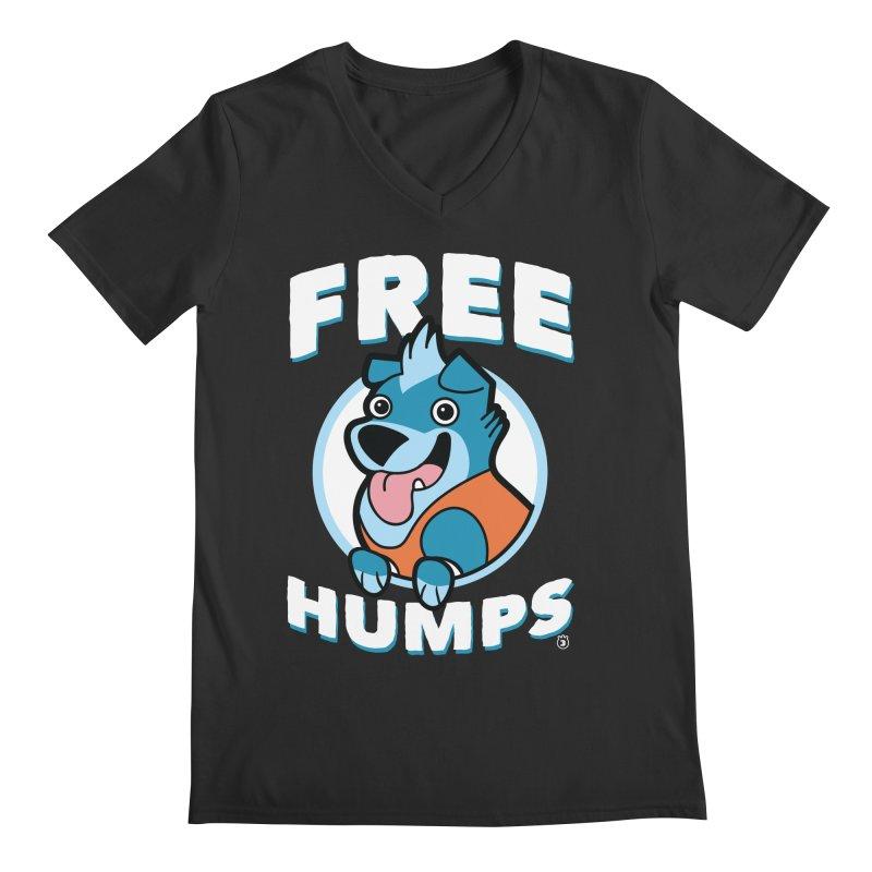 FREE HUMPS Men's V-Neck by Tripleta Gourmet Clothing