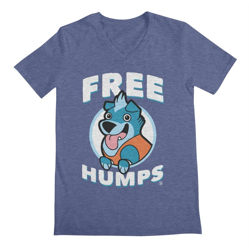 FREE HUMPS Men's V-Neck by Tripleta Gourmet Clothing