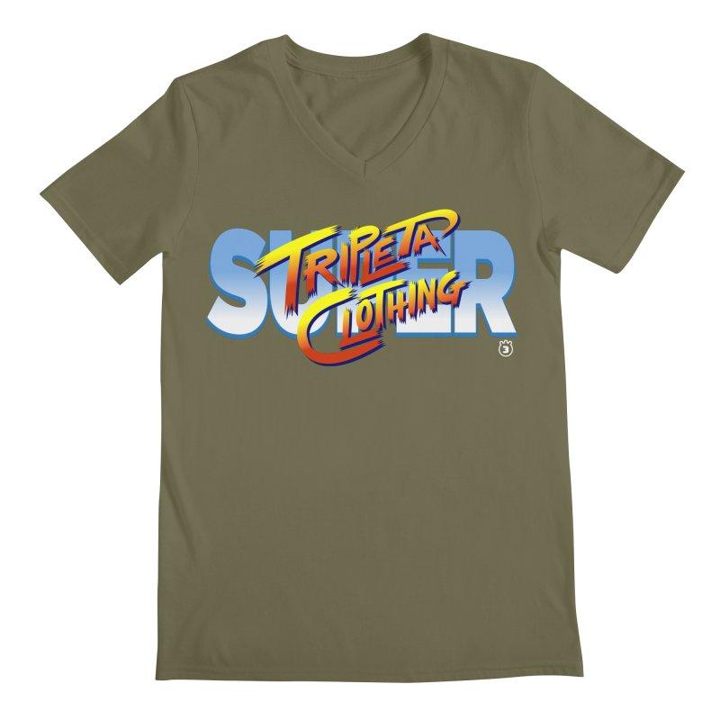 SUPER TRIPLETA FIGHTER Men's V-Neck by Tripleta Gourmet Clothing