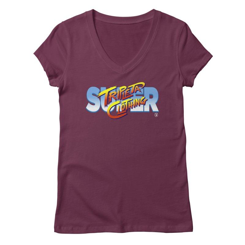 SUPER TRIPLETA FIGHTER Women's V-Neck by Tripleta Gourmet Clothing