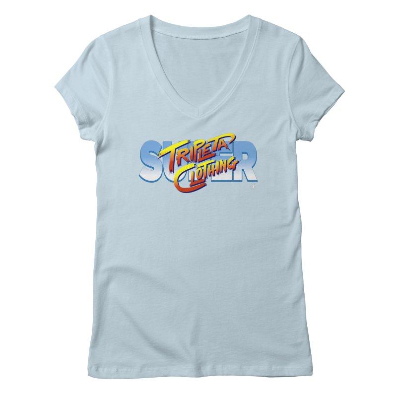 SUPER TRIPLETA FIGHTER Women's Regular V-Neck by Tripleta Gourmet Clothing