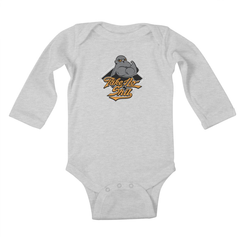 TAKE NO SHIT Kids Baby Longsleeve Bodysuit by Tripleta Gourmet Clothing