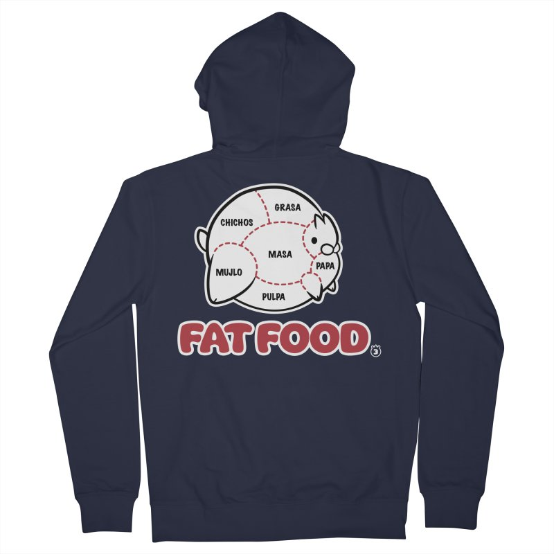 FAT FOOD Men's French Terry Zip-Up Hoody by Tripleta Studio Shop