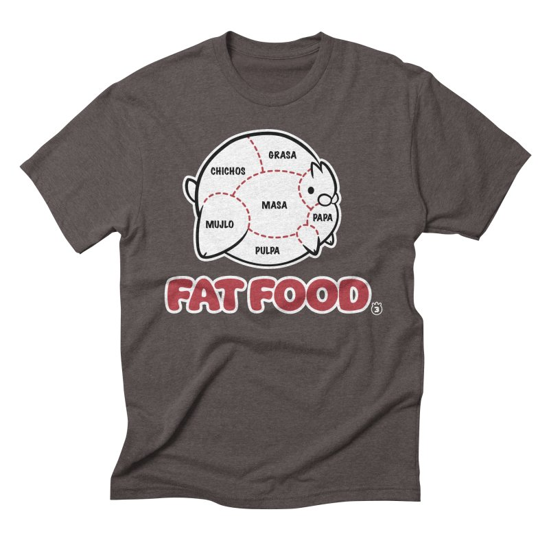 FAT FOOD Men's Triblend T-Shirt by Tripleta Gourmet Clothing
