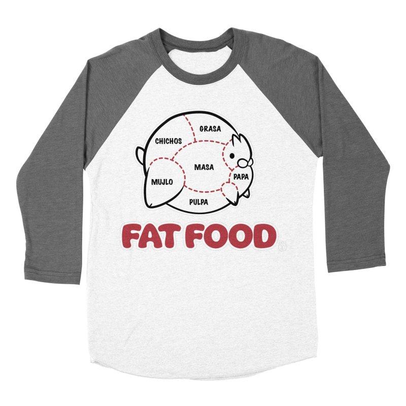 FAT FOOD Women's Baseball Triblend Longsleeve T-Shirt by Tripleta Gourmet Clothing