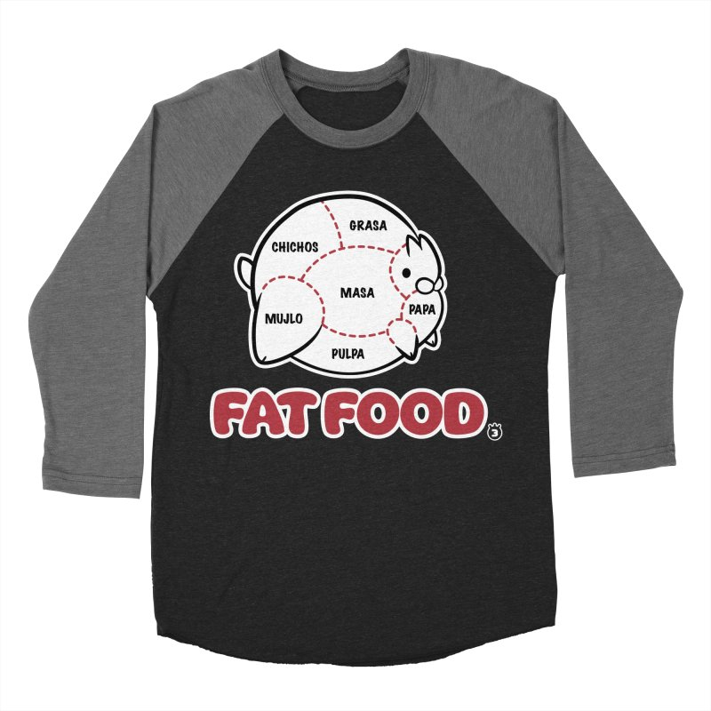 FAT FOOD Men's Baseball Triblend T-Shirt by Tripleta Gourmet Clothing