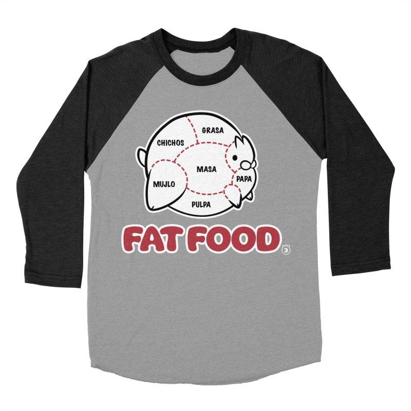 FAT FOOD Men's Baseball Triblend Longsleeve T-Shirt by Tripleta Studio Shop