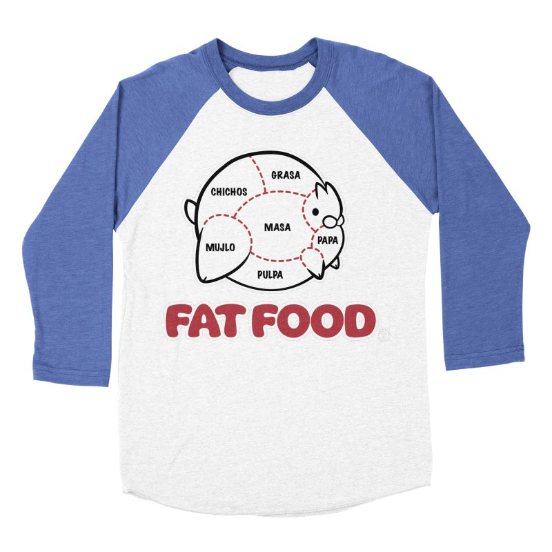 FAT FOOD Men's Baseball Triblend T-Shirt by Tripleta Gourmet Clothing
