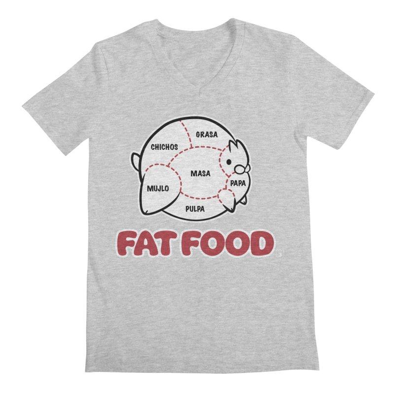 FAT FOOD Men's Regular V-Neck by Tripleta Gourmet Clothing