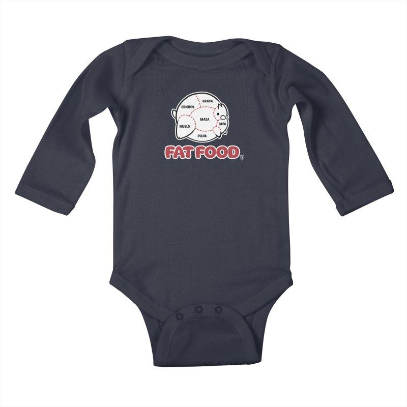 FAT FOOD Kids Baby Longsleeve Bodysuit by Tripleta Gourmet Clothing
