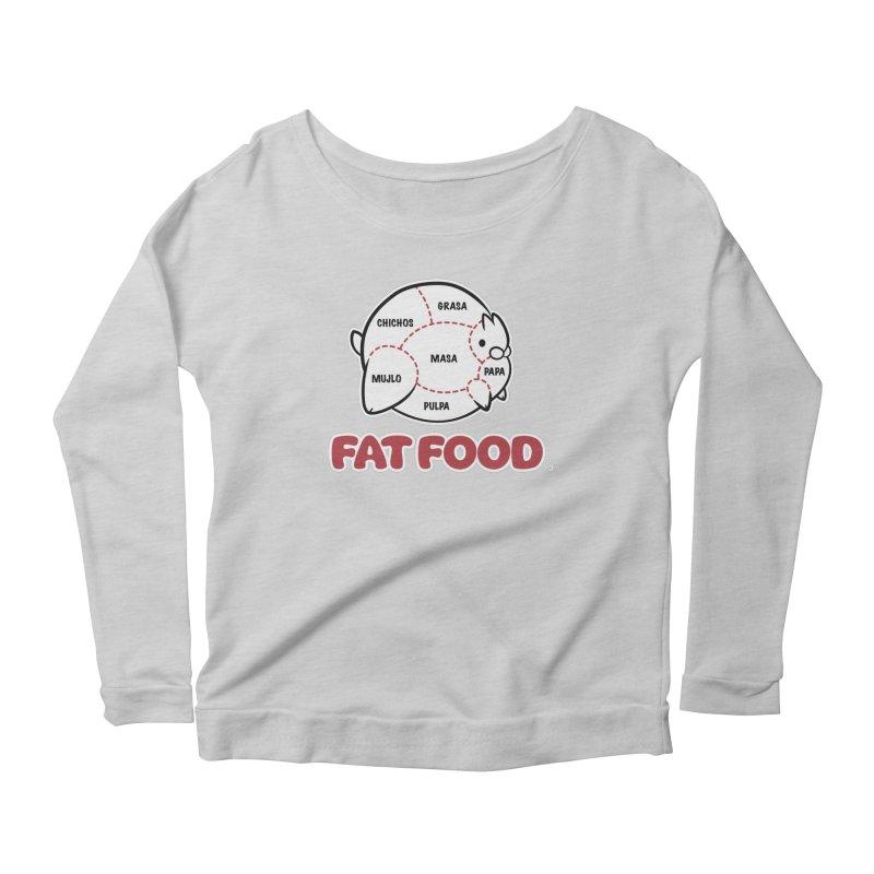 FAT FOOD Women's Longsleeve Scoopneck  by Tripleta Gourmet Clothing