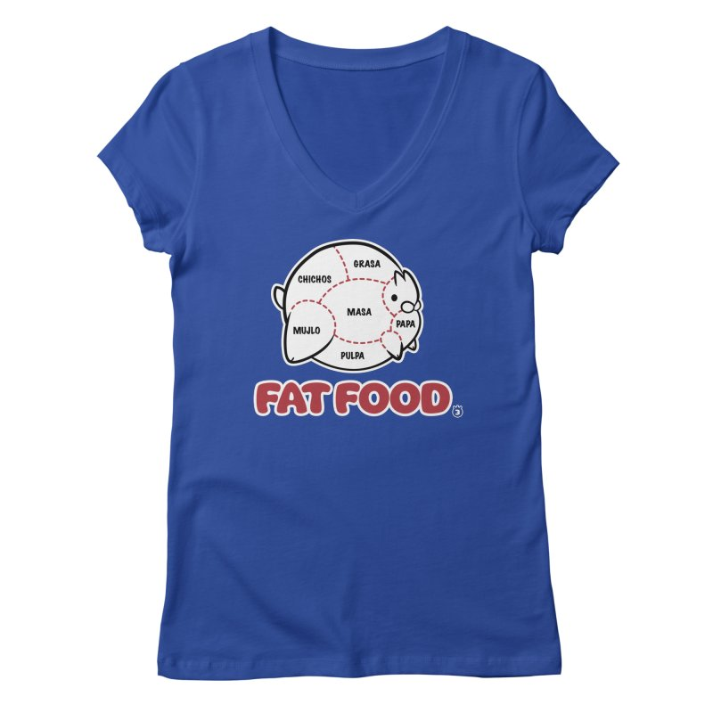 FAT FOOD Women's V-Neck by Tripleta Gourmet Clothing