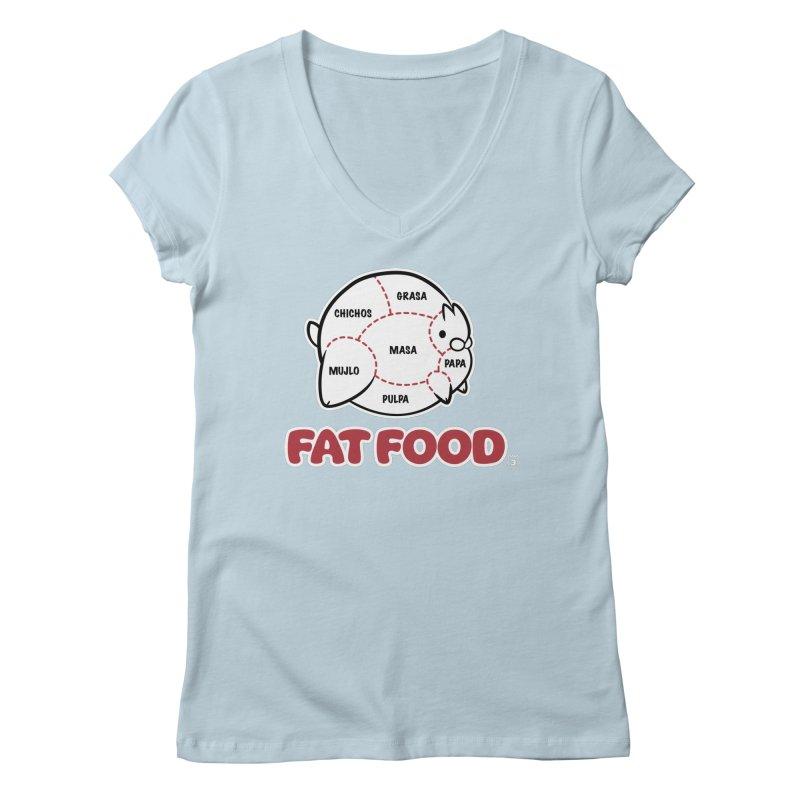 FAT FOOD Women's Regular V-Neck by Tripleta Gourmet Clothing